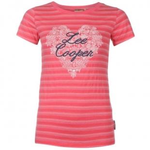 Dámské triko Lee Cooper Yarn Dye Crew - růžové