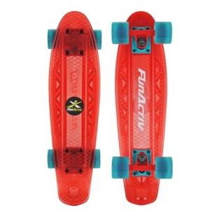 Skateboard FunActive PAUD CLEAR - Červený
