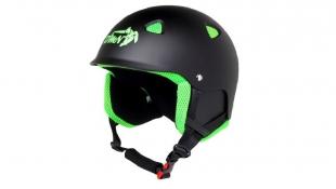 Lyžařská helma ACTION matná černá se zelenou - velikost L (60-61)