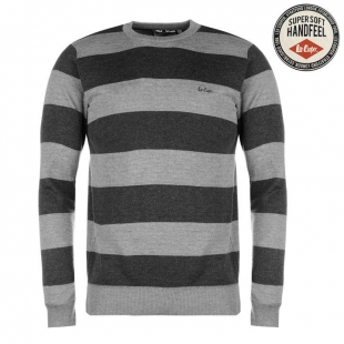 Lee Cooper Stripe Crew Knit Jumper Mens