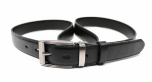 Pánský společenský kožený opasek, černý, vel.: 100 cm