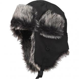 Ušanka Kangaroo Poo Boys Faux Fur Lined Trapper Hat Black