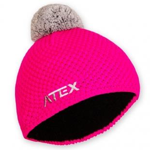 Pletená čepice KNIT neon-růžová
