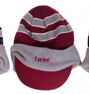 Zimní čepice ExeJns s kšiltem, červená