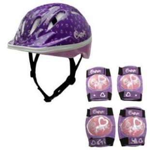 Dětská helma + set chráničů fialový vel -52 cm