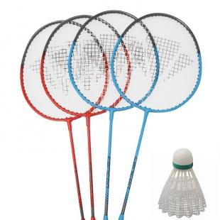 Carlton Badminton sada obsahuje  čtyři rakety a vak, červeno modré