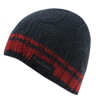 Pánská zimní čepice Pierre Cardin Knit Beanie, černo-červená