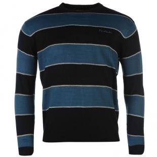 Pánský svetr Pierre Cardin Big Stripe Knitted, černomodrý