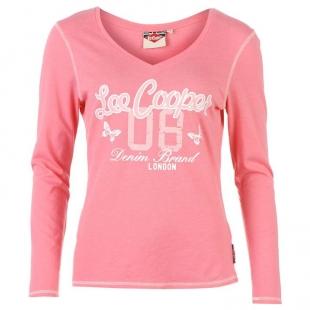 Dámské triko s dlouhým rukávem  Lee Cooper Cooper, růžové